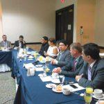 El ministro de Justicia y Seguridad, Benito Lara, durante la reunión con la mesa de cooperantes en prevención de la violencia.