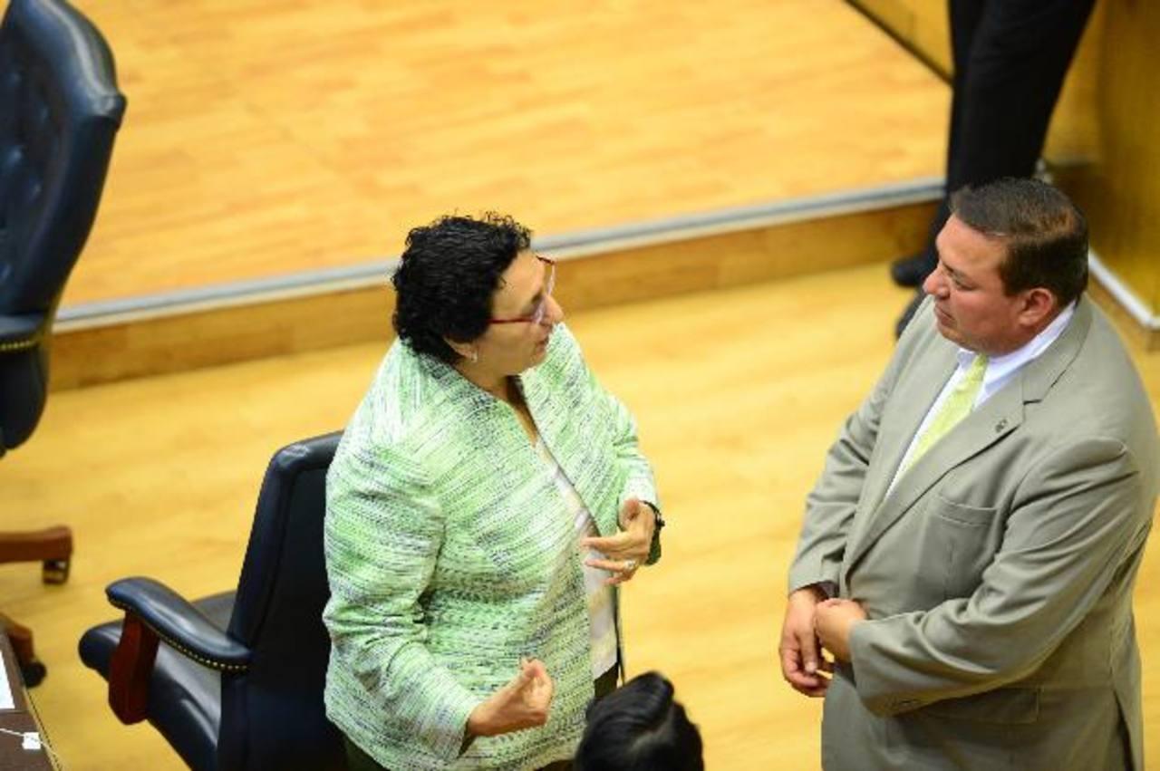 En la imagen los diputados Lorena Peña, del FMLN, y el jefe de fracción de GANA, Wálter Guzmán, platican en el pleno. Los asambleístas dicen que los $7 millones de contrapartida del Fomilenio II ya están en el gasto del próximo año. foto edh/jorge re