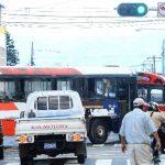 Buses bloquean intersección de avenida Cuscatlán y 4a. Calle Poniente, en el centro de San Salvador. Foto EDH / Omar carbonero