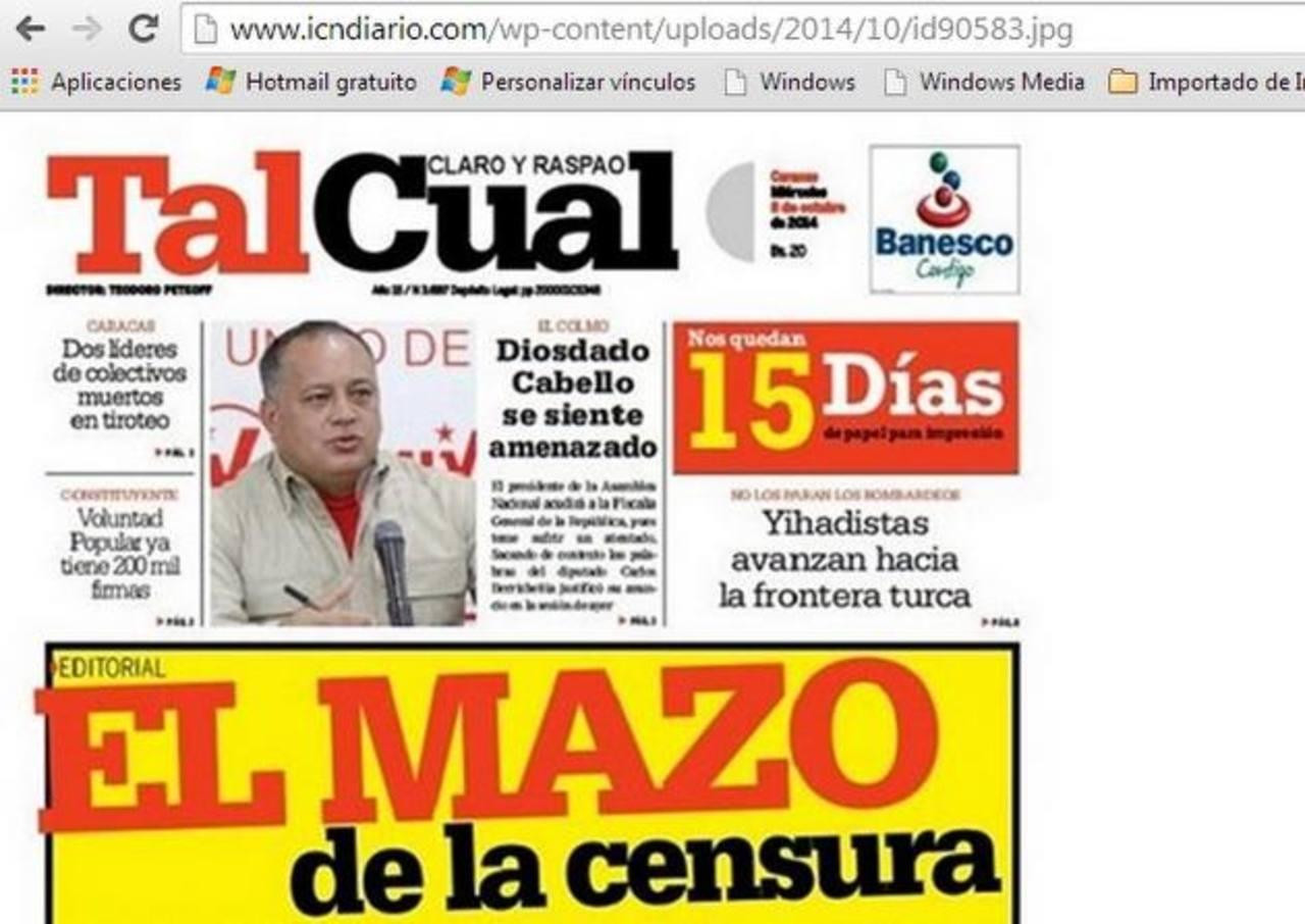 Diario Tal Cual publica un conteo regresivo en su portada de los días que le quedan por circular.