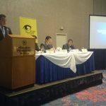 Magistrado de la CSJ, Rodolfo González (sentado al centro) en conferencia de Jurisprudencia Constitucional del Derecho a Información.