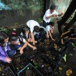 Estudiantes preparan la tierra donde pronto sembrarán semillas de zanahoria, güisquiles y otros vegetales. El Ministerio de Medio Ambiente ofrecerá asesoría técnica.