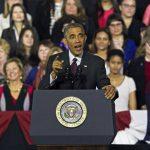 El presidente Barack Obama hizo campaña ayer a favor de los demócratas en una universidad de Rhode Island. foto edh / efe