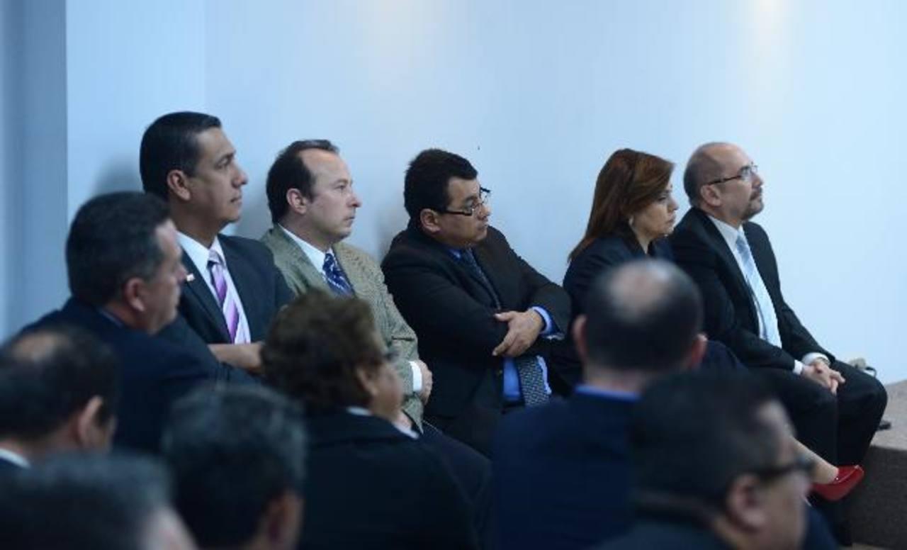 Magistrados Ulises Rivas, Fernando Argüello, Julio Olivo, Guadalupe Medina y Miguel Cardoza foto edh / marvin recinos