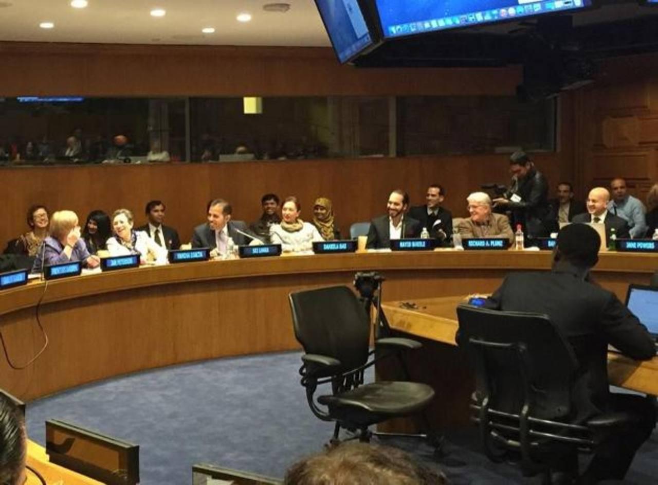 El edil de Nuevo Cuscatlán, Nayib Bukele, expuso en la ONU su experiencia en dicha comuna. foto edh / twitter @PrensaNayib.