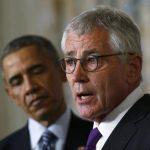 El presidente de Estados Unidos, Barack Obama (i), anunció la dimisión de su secretario de Defensa, Chuck Hagel. foto edh / reuters.