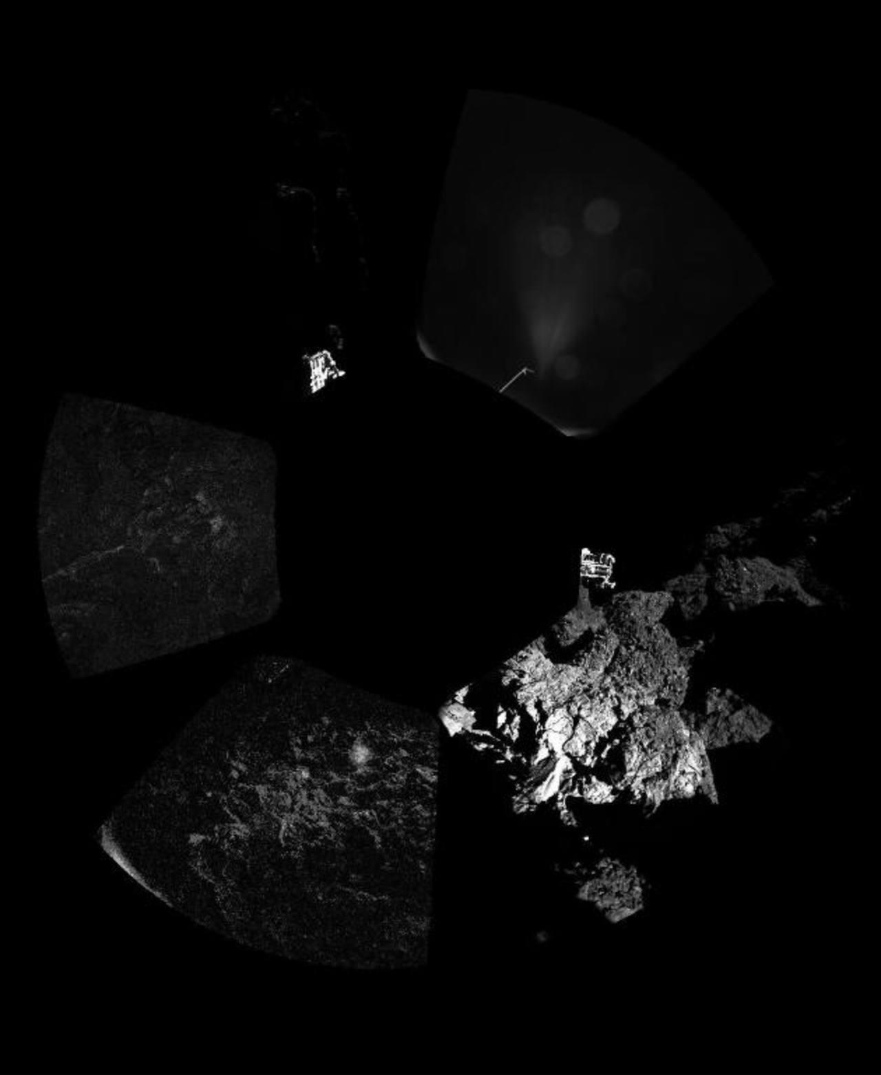 Primera fotografía del módulo Philae de la sonda Rosetta de la ESA sobre la superficie del cometa 67P/Churyumov-Gerasimenko. Foto EDH