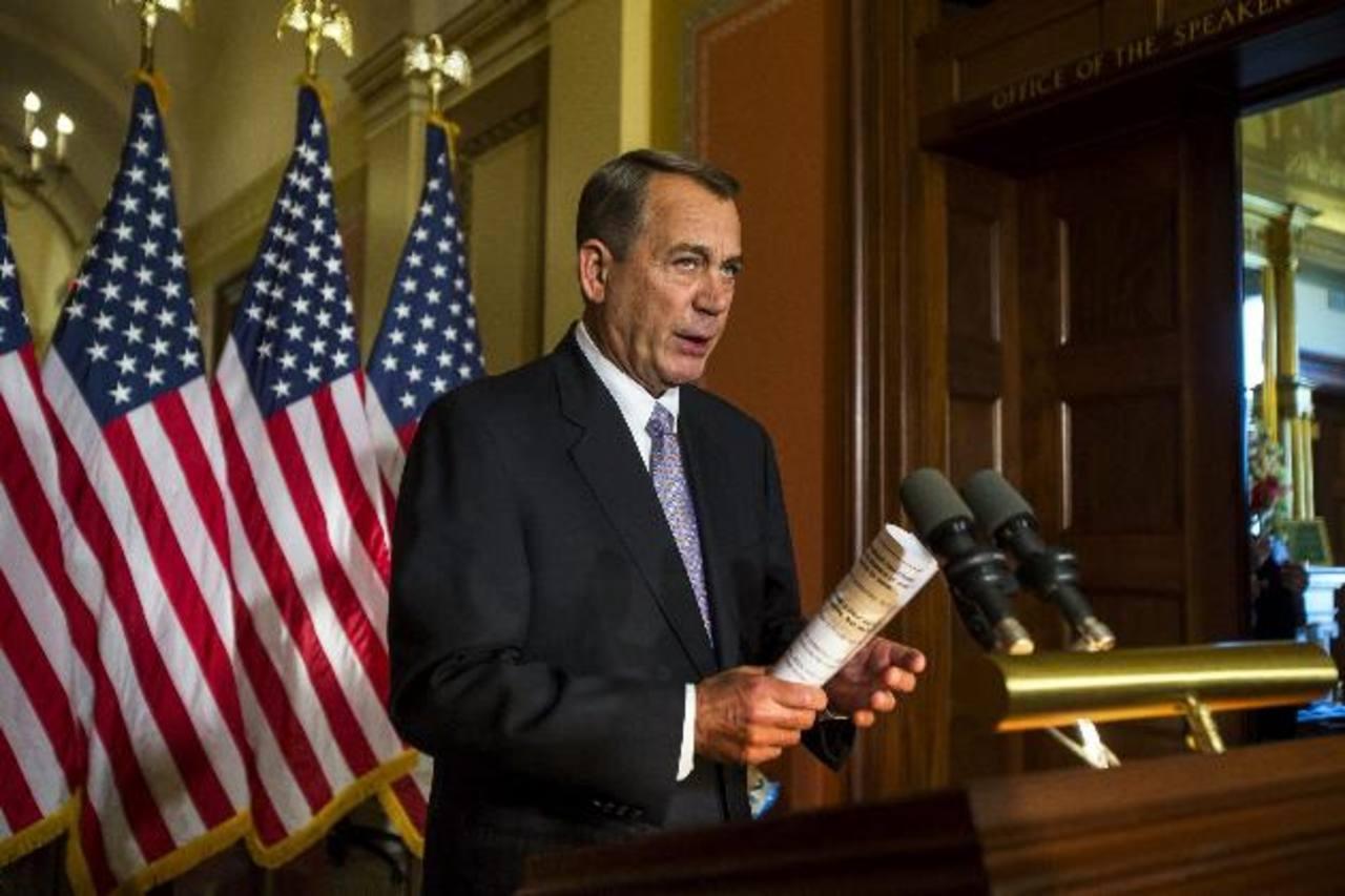 El líder republicano John Boehner, durante la rueda de prensa ayer en el Capitolio.