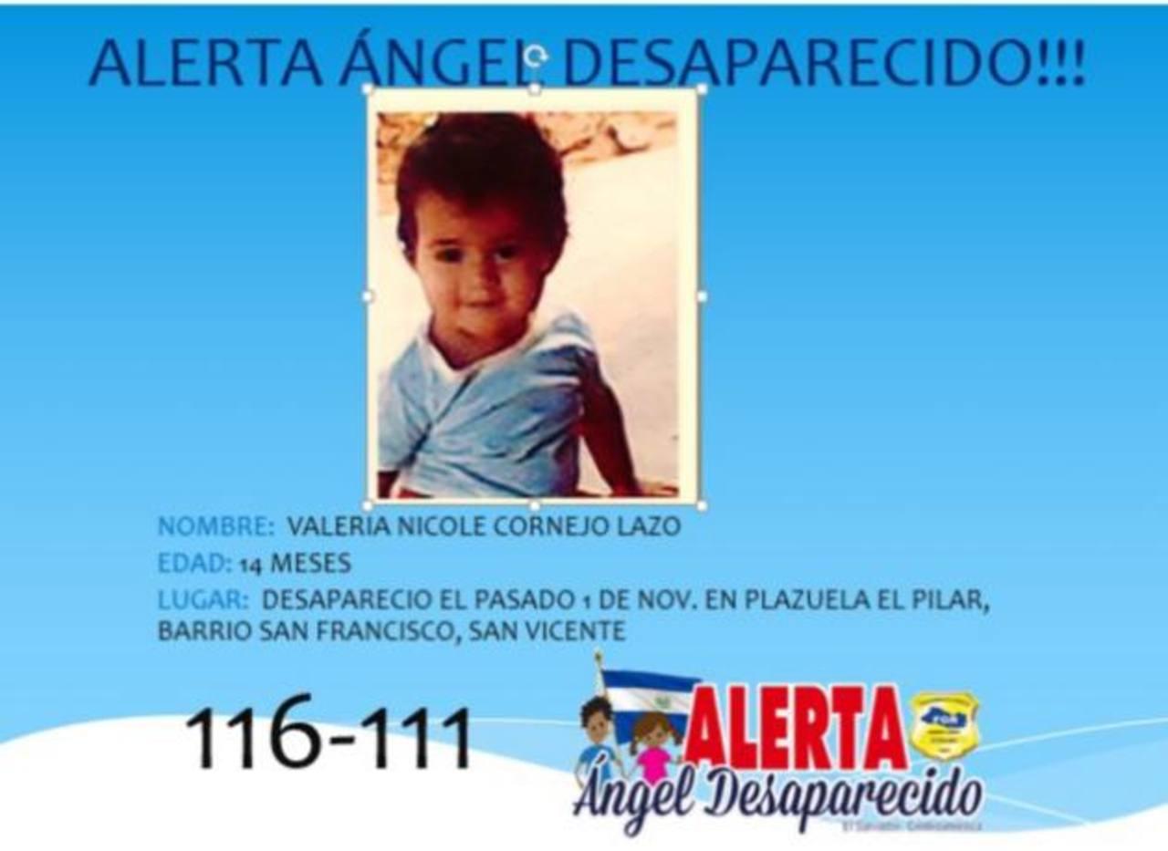 Publicación del programa Ángel Desaparecido en la que se alerta del desaparecimiento de la niña Valeria Nicole.