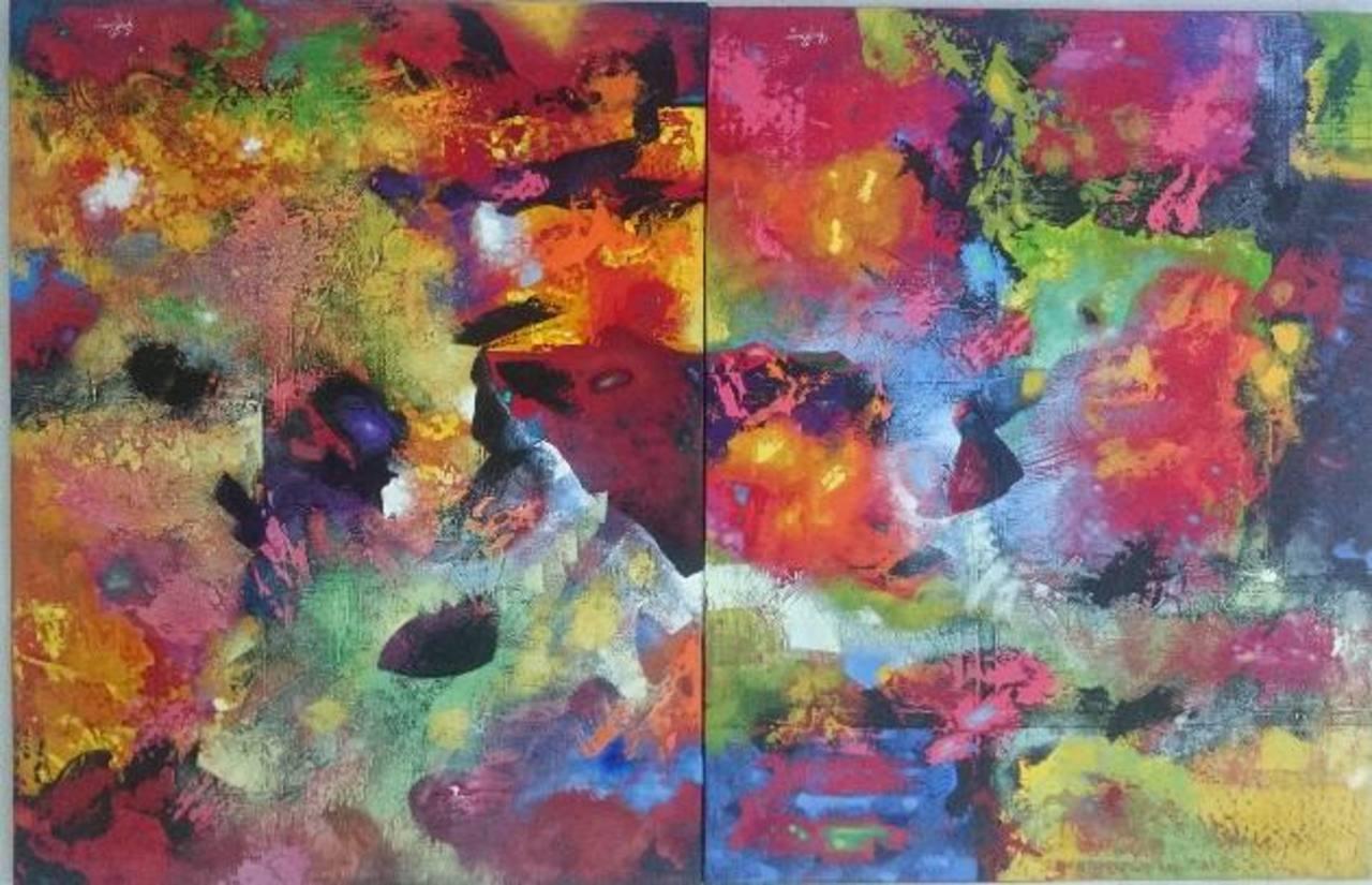 Yong Romero, artista originario de Armenia, muestra todo su color en la exposición. Foto / Diandra Mejía