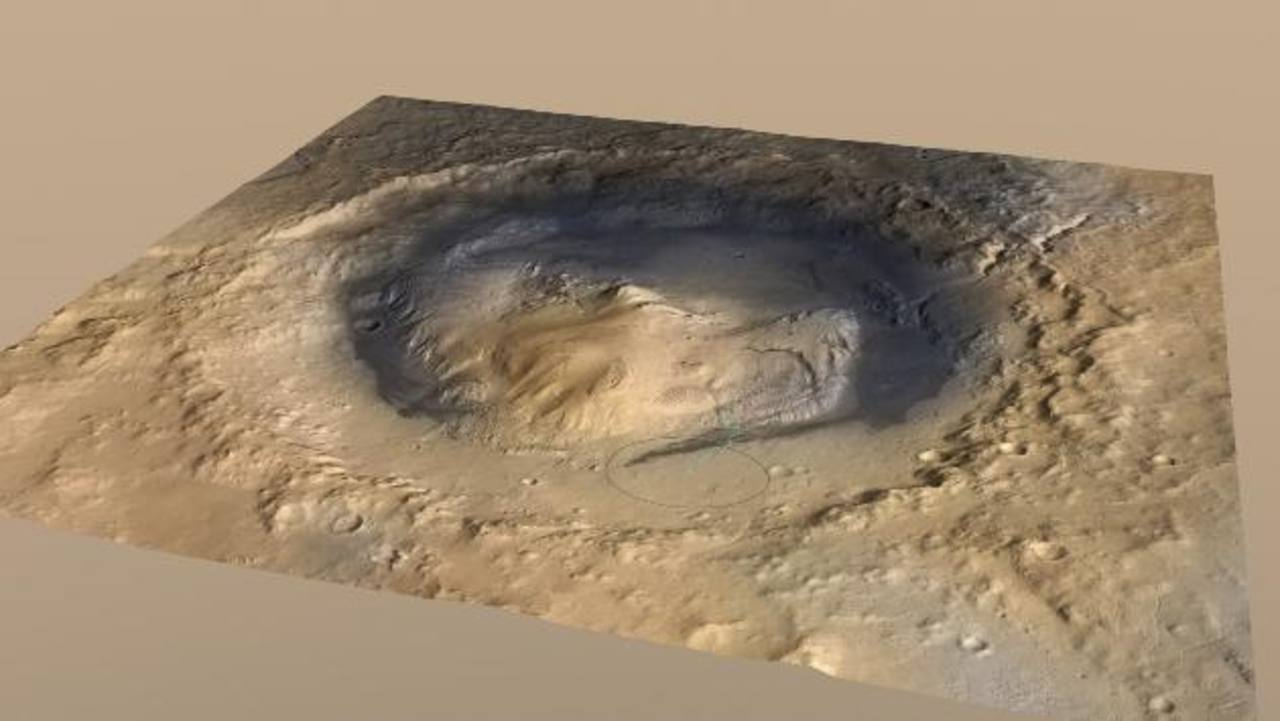 Cráter que el robot de la NASA Curiosity explora en Marte. foto edh / reuters