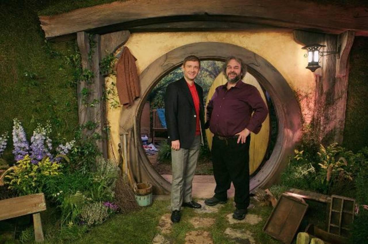 """El actor Martin Freeman y el director Peter Jackson durante la promoción del filme """"El Hobbit: La batalla de los cinco ejércitos"""". Foto EDH /AP"""