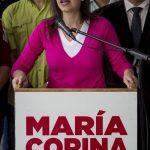 La exdiputada de la Asamblea Nacional (AN) venezolana y opositora, María Corina Machado, participa en una rueda de prensa ayer, en Caracas (Venezuela). foto edh / EFE.