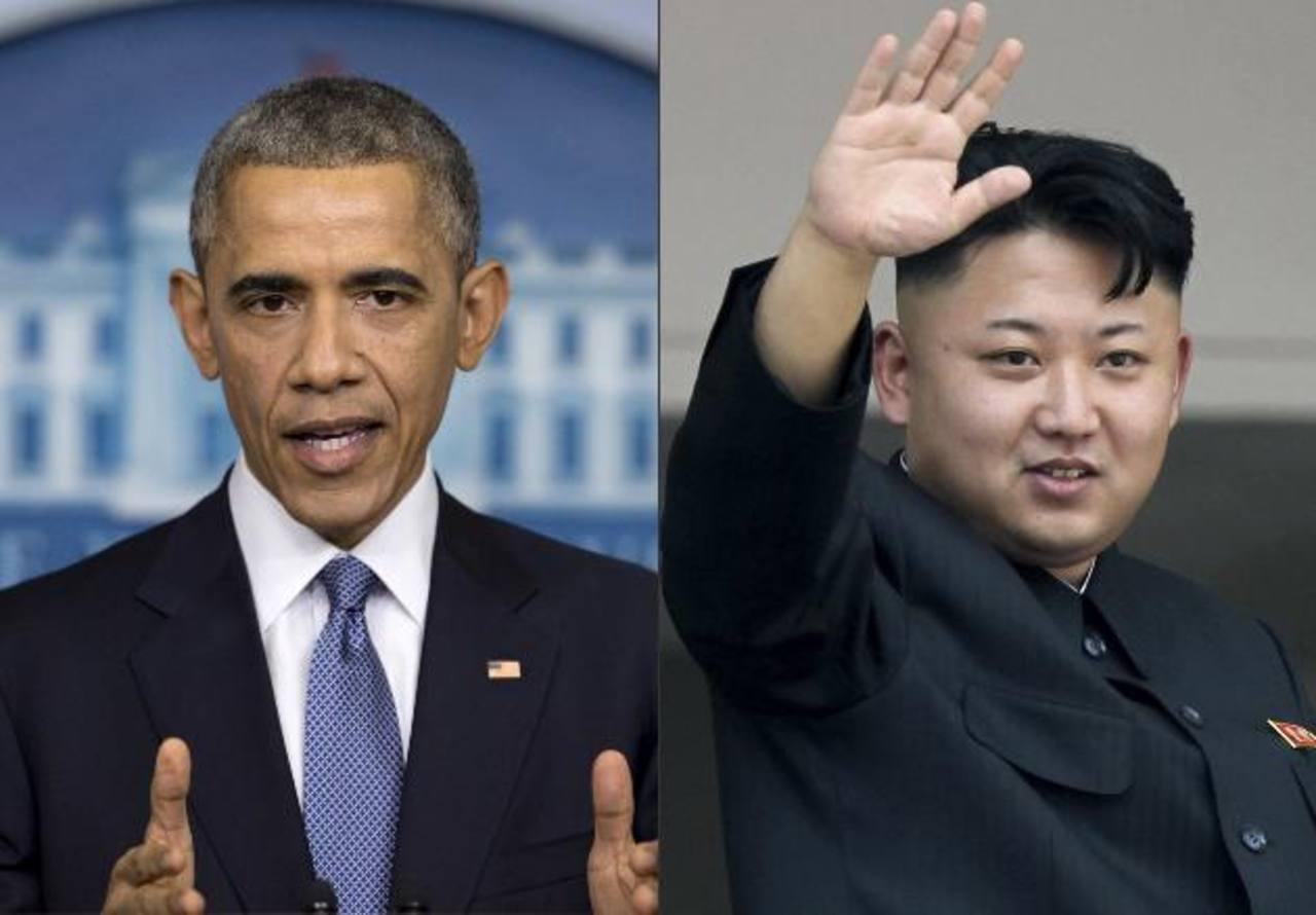 """El presidente estadounidense, Barack Obama, a la izquierda, y el dirigente norcoreano, Kim Jong Un. La película """"La Entrevista"""" es la manzana de la discordia entre ambos. foto edh/AP"""