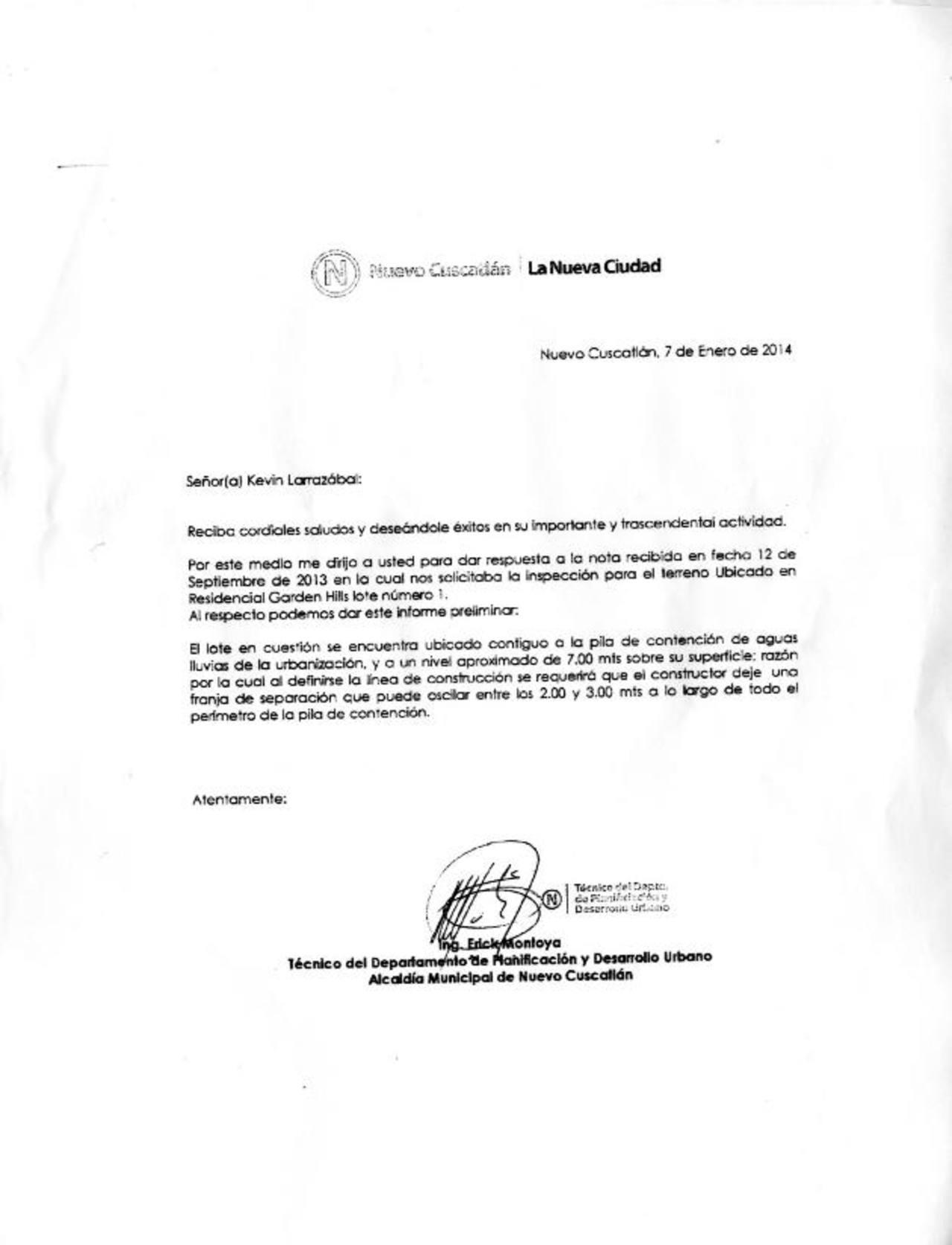 Notificación enviada por la alcaldía de Nuevo Cuscatlán a Kevin Larrazábal, por la cual, según representantes del IPSFA, se le hizo una rebaja de $15 mil al lote 1 en la residencial Garden Hills.