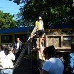El Ministro Gerson Martínez acudió al lugar en donde se hallaron las tapaderas para su traslado al plantel La Lechuza.