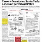 El Diario de Hoy publicó ayer que la alcaldía de Santa Tecla no tenía permisos para las carreras.