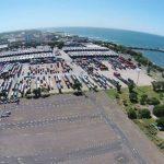 Foto drone del puerto de Acajutla, el principal del país.