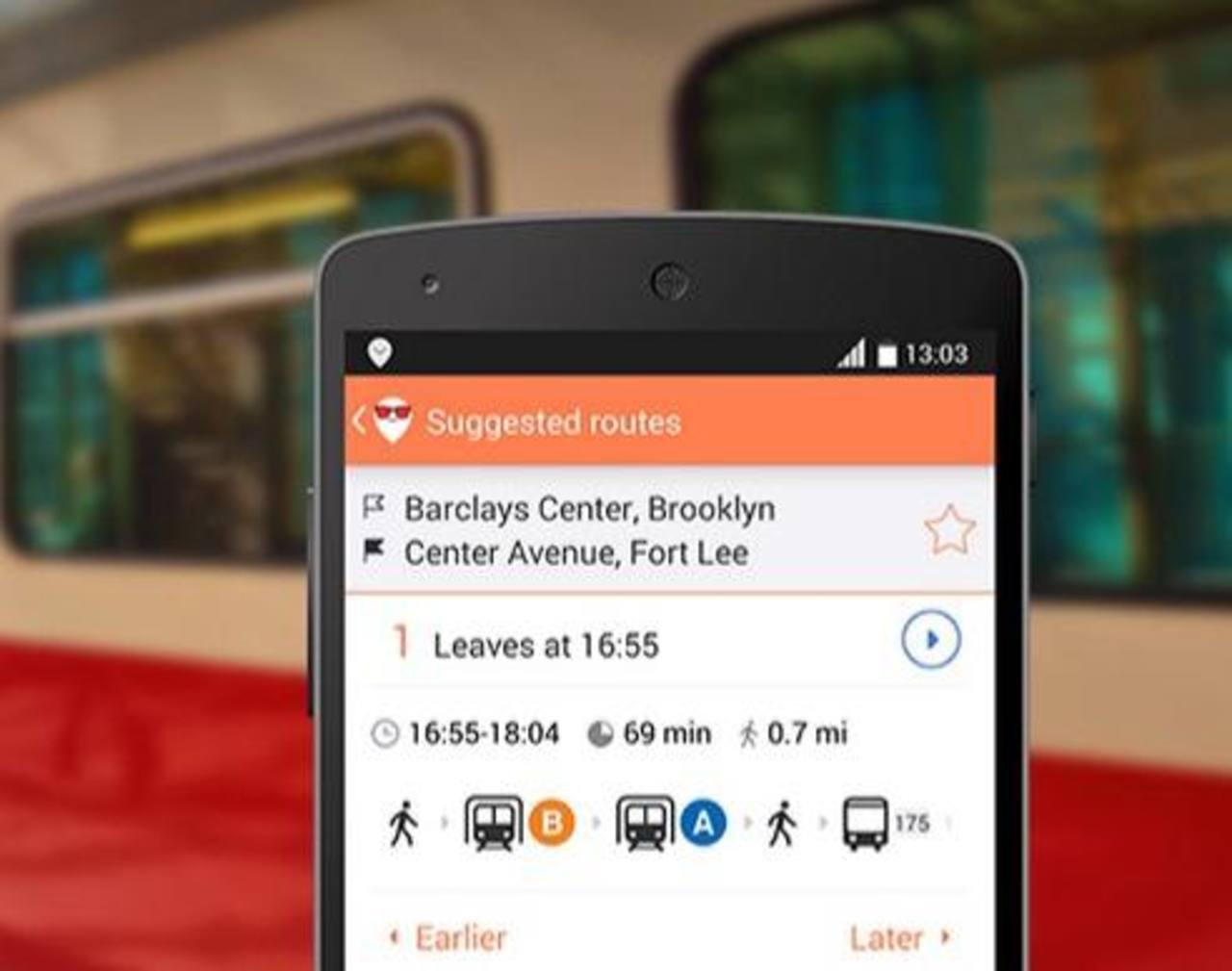 Moovit es una aplicación disponible gratuitamente para iPhone, Android, y Windows Phone. Da acceso en tiempo real a rutas de transporte.