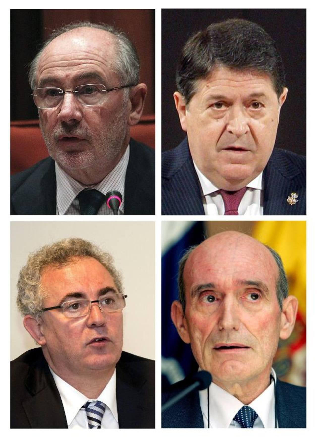 Combo de fotografías de los exdirectivos de Bankia (de izda. a dcha. y de arriba a abajo) Rodrigo Rato, José Luis Olivas, Francisco Verdú y José Manuel Fernández Norniella