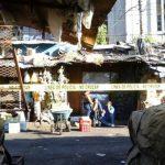 La imagen de un homicidio de hoy por la Iglesia El Calvario, centro de San Salvador. Se trata de un vendedor de esa zona.