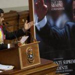 El presidente Nicolás Maduro durante su discurso ante la Asamblea Nacional ayer en Caracas.