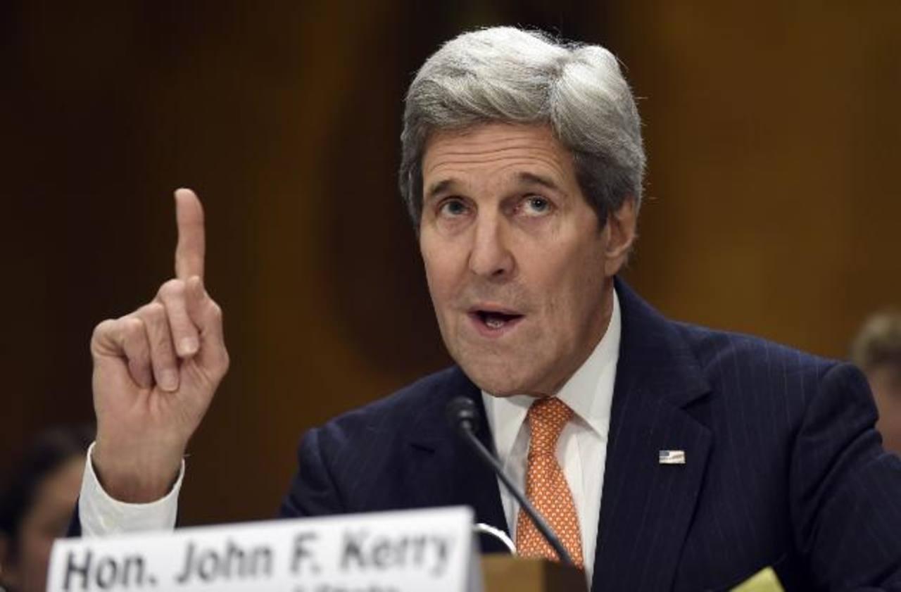 El secretario de Estado, John Kerry, durante la audiencia de ayer en el comité del Senado, en Washington. foto edh /AP