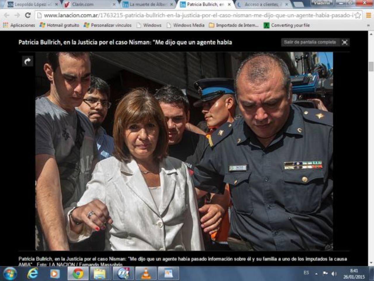 La diputada nacional Patricia Bullrich se presentó ayer ante la fiscal que investiga la muerte de Alberto Nisman. Foto EDH / Internet
