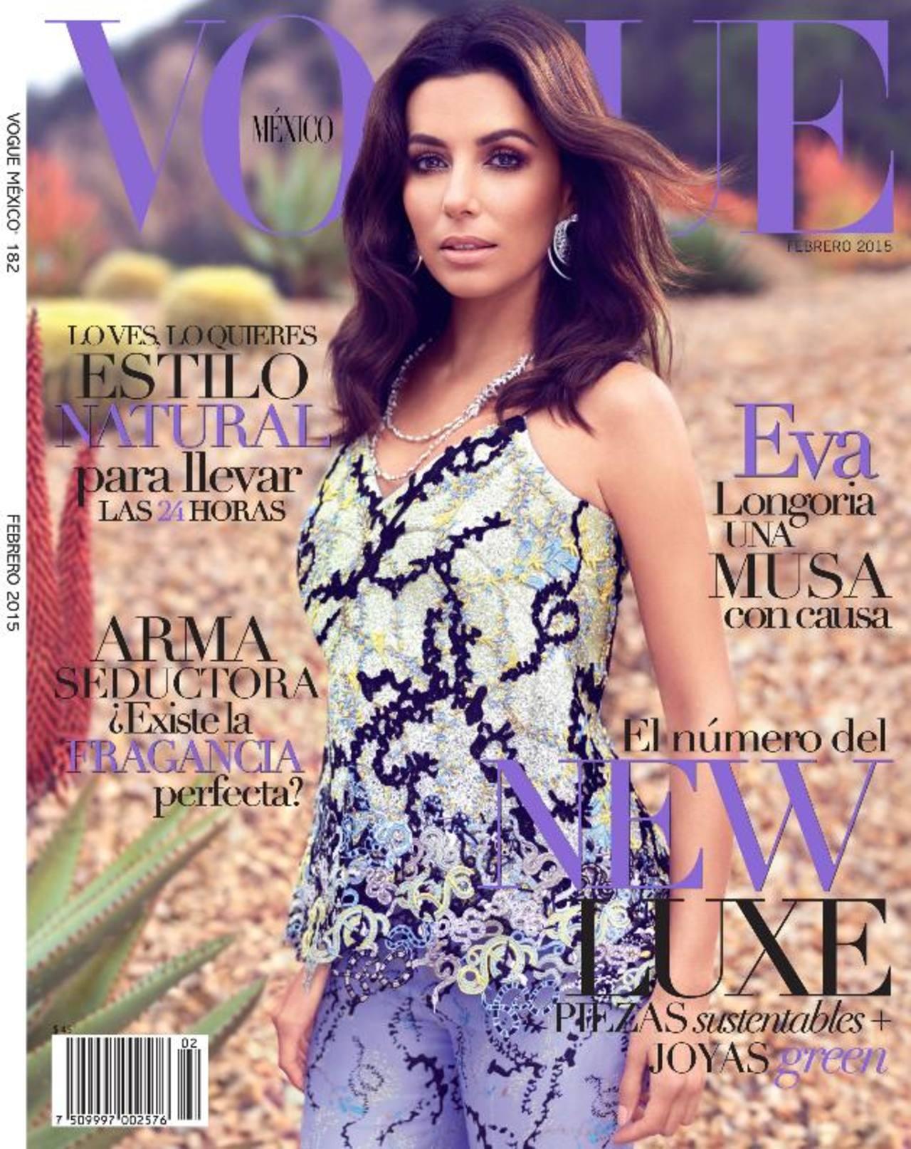 La actriz Eva Longoria decora la portada de la revista Vogue México en su edición febrero 2015.