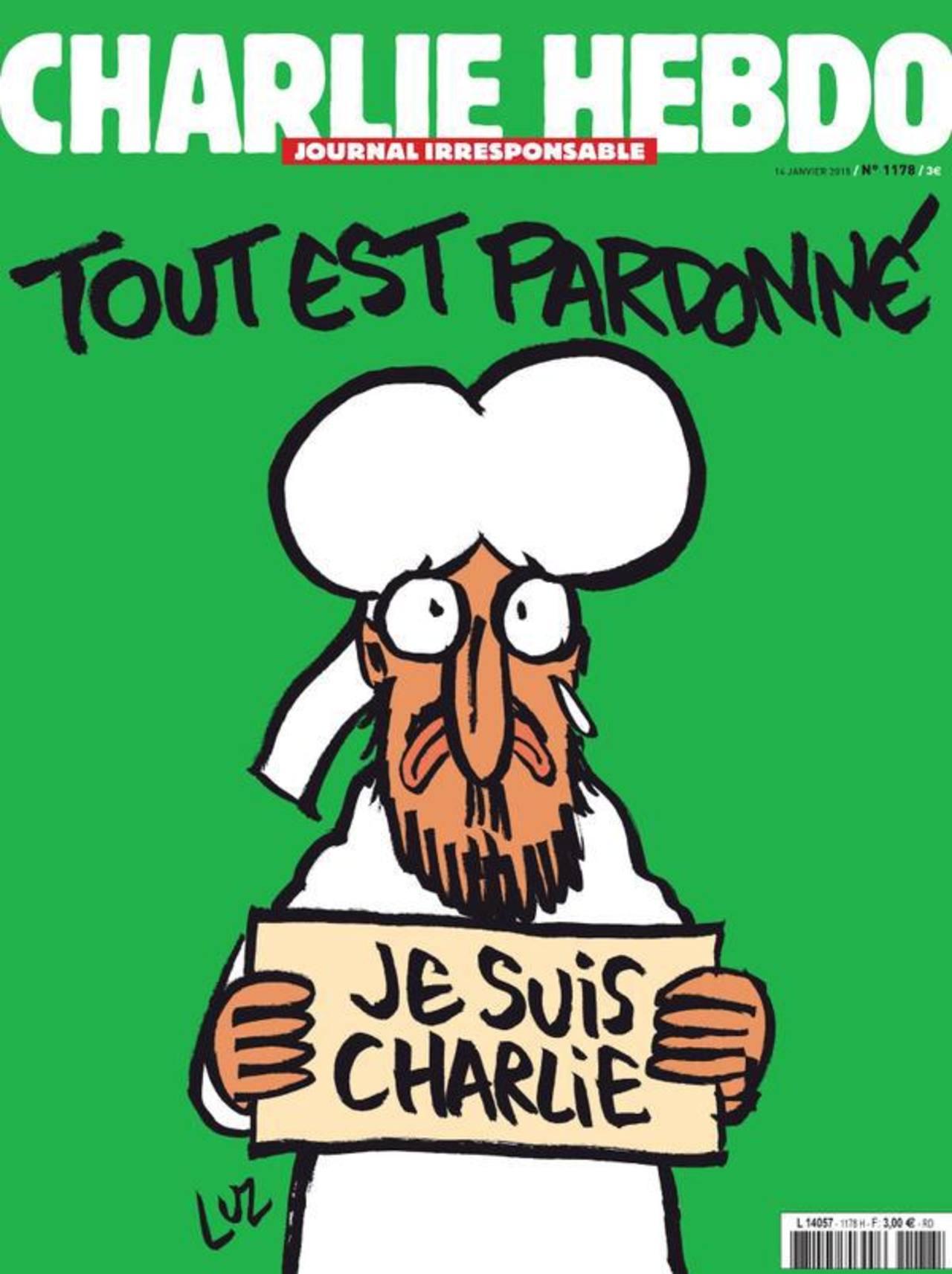 """Charlie Hebdo saca en portada dibujo de Mahoma con cartel de """"Yo soy Charlie"""""""