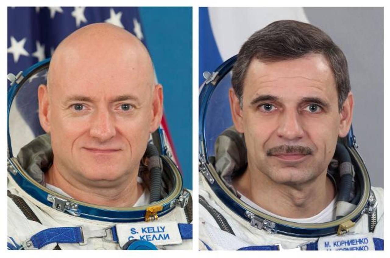 El astronauta estadounidense Scott Kelly (izq.) y el cosmonauta ruso Mijaíl Kornienko pasarán 12 meses en el espacio.