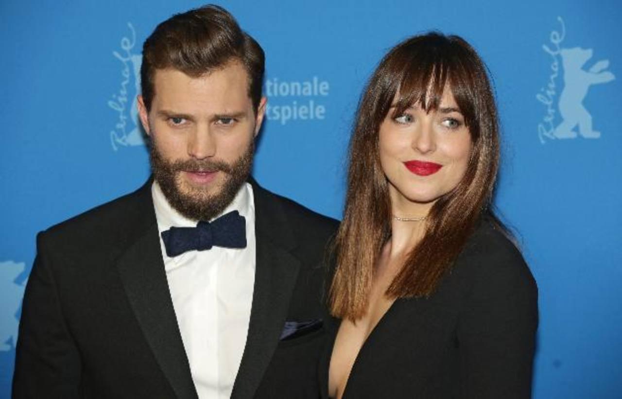 """Dakota Johnson y Jamie Dornan, protagonistas de las """"50 sombras de Grey""""."""