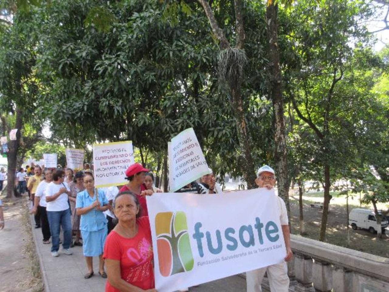 Los asistentes llegaron a la actividad con carteles alusivos a cumplir los derechos de la tercera edad. Foto EDH / cortesía