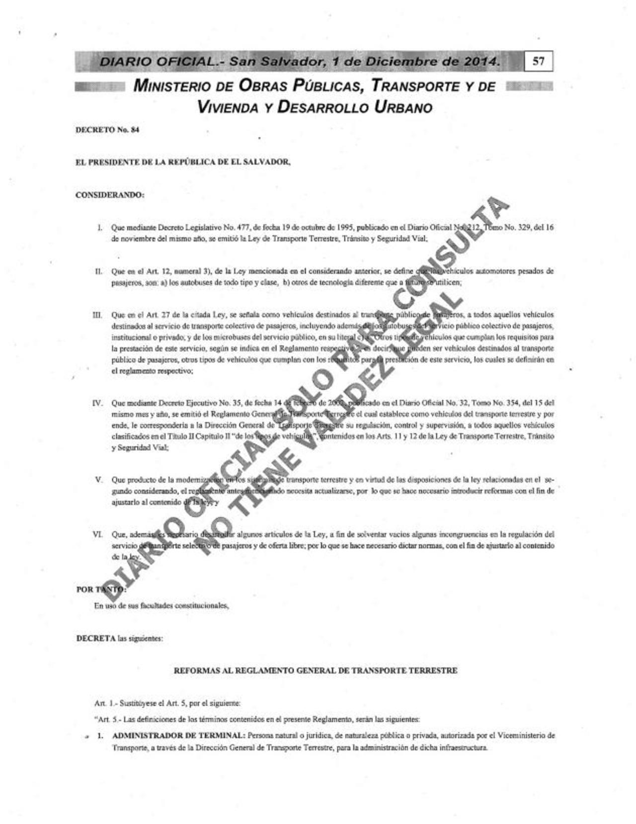 VMT incluye al Sitramss en reglamento de tránsito
