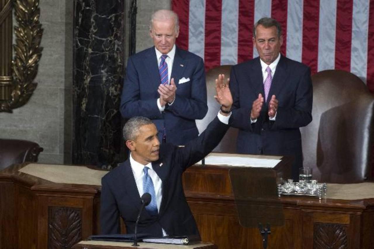 El presidente Barack Obama, el vicepresidente Joseph Biden (i) y el presidente de la Cámara de Representantes, John Boehner ayer en el Congreso. foto edh /EFE