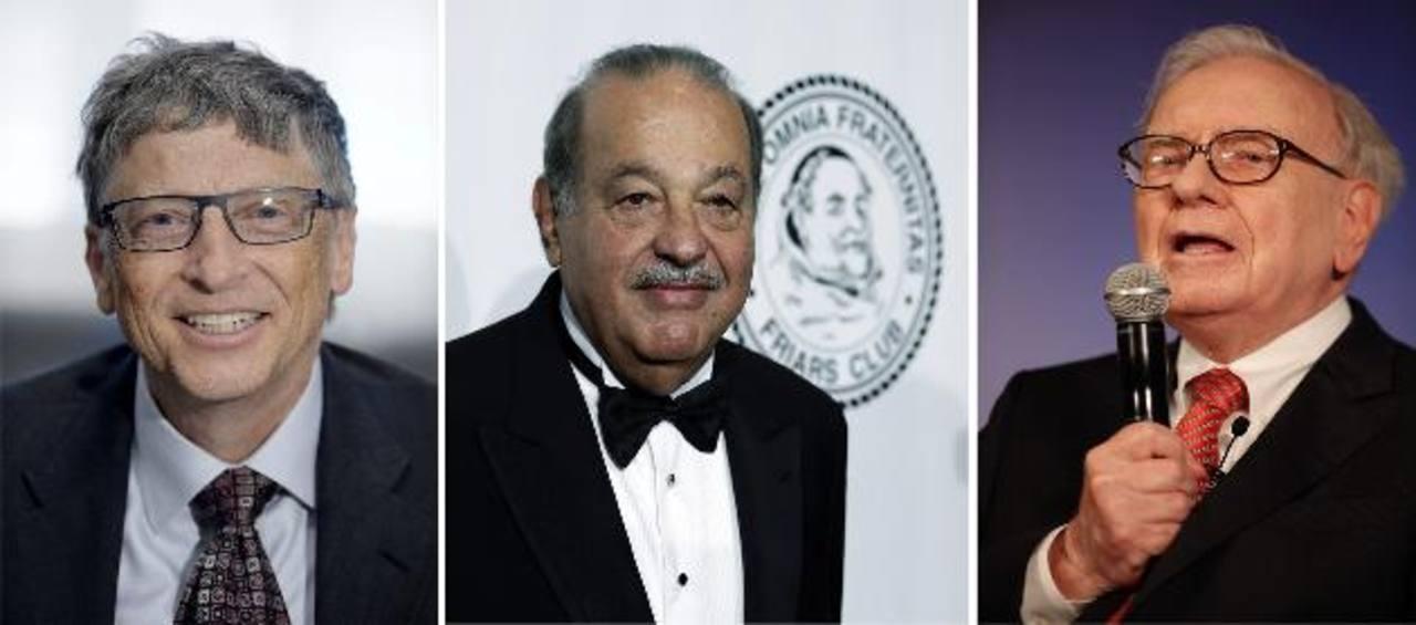 Bill Gates, Carlos Slim y Warren Buffett, los tres hombres más ricos del globo. Foto EDH/ Archivo