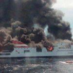 152 evacuados tras incendio de transbordador, en España