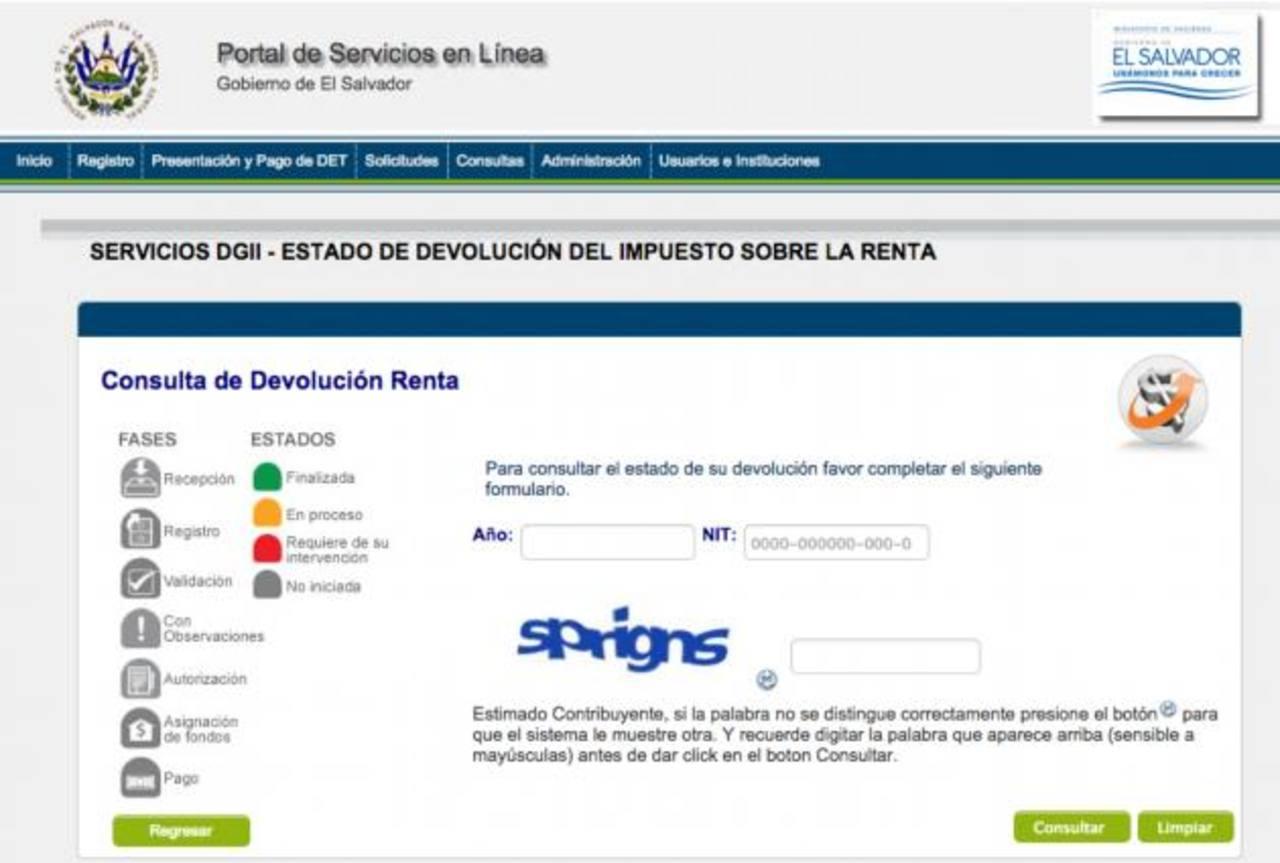 A través de la página web del Ministerio de Hacienda, las personas podrán declarar impuestos sobre la renta. Foto EDH