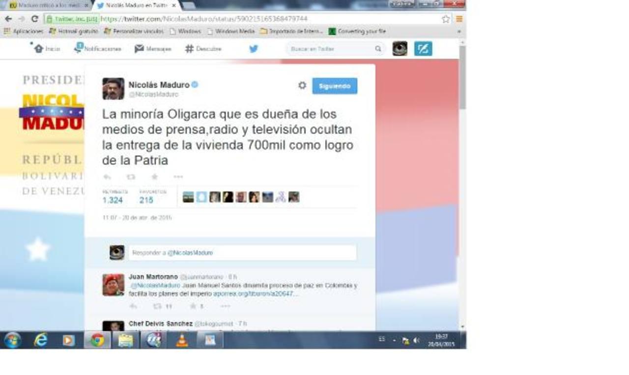 Por medio de su cuenta en Twitter @NicolasMaduro, el gobernante izquierdista despotricó contra los periodistas. foto edh / internet