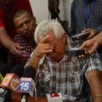El empresario Milton Arcia durante la conferencia de prensa en la que denunció que el gobierno de Daniel Ortega derribó su hotel en Ometepe, en el Gran Lago en Nicaragua. Foto EDH / tomada del diario confidencial
