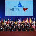 Los mandatarios del hemisferio durante el acto de inauguración de la VII Cumbre de Las Américas. También participaron los secretarios generales de la OEA, Miguel Insulza y de la ONU, Ban Ki-moon. EFE