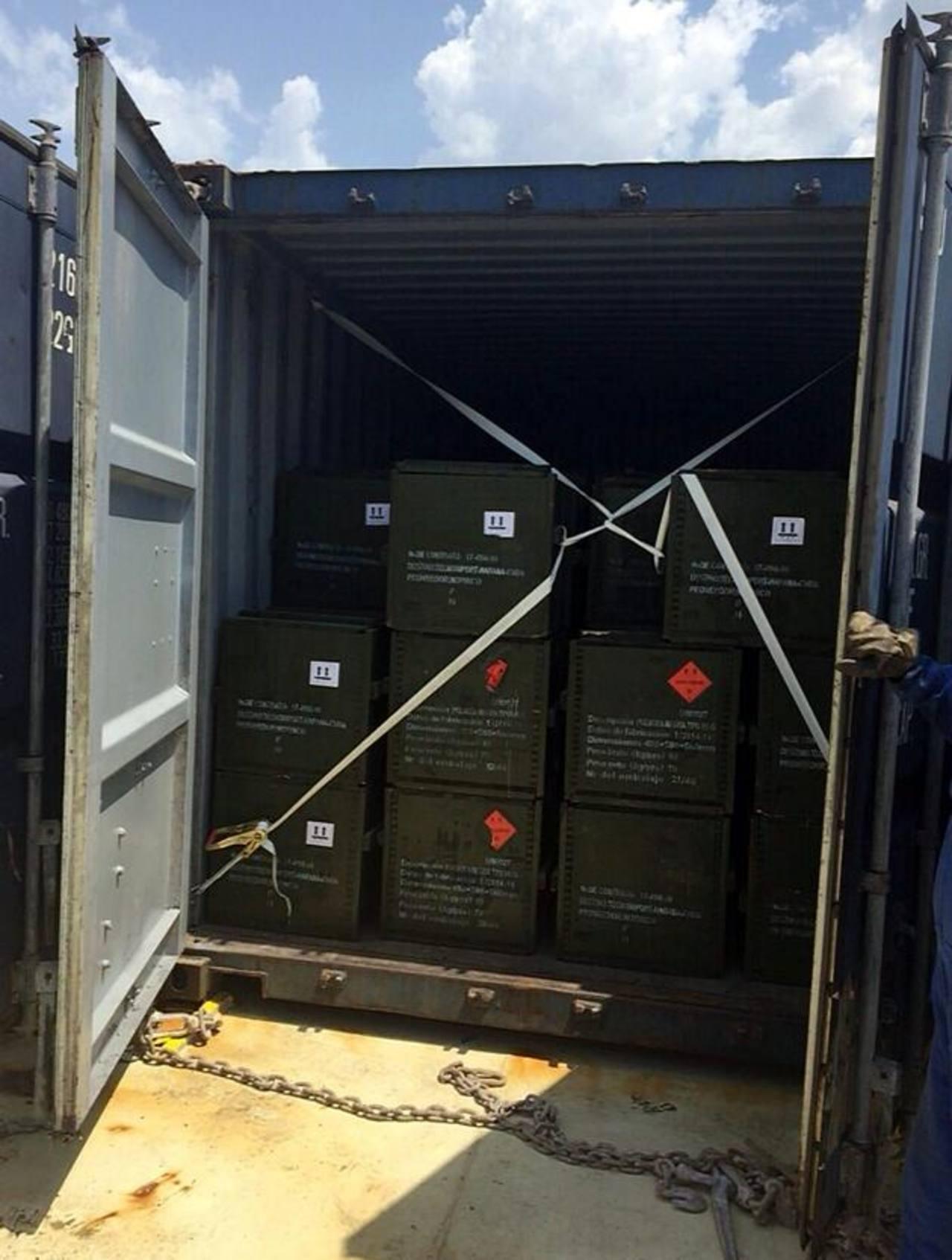 Fotografía cedida por la Fiscalía de Colombia donde se ve un contenedor incautado.