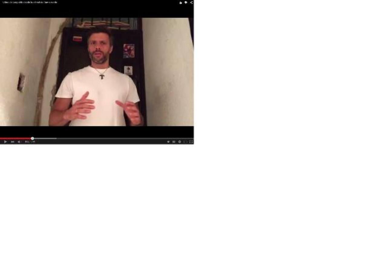 El líder opositor Leopoldo López grabó en mayo un video en el que anuncia que se declara en huelga de hambre. foto edh / internet