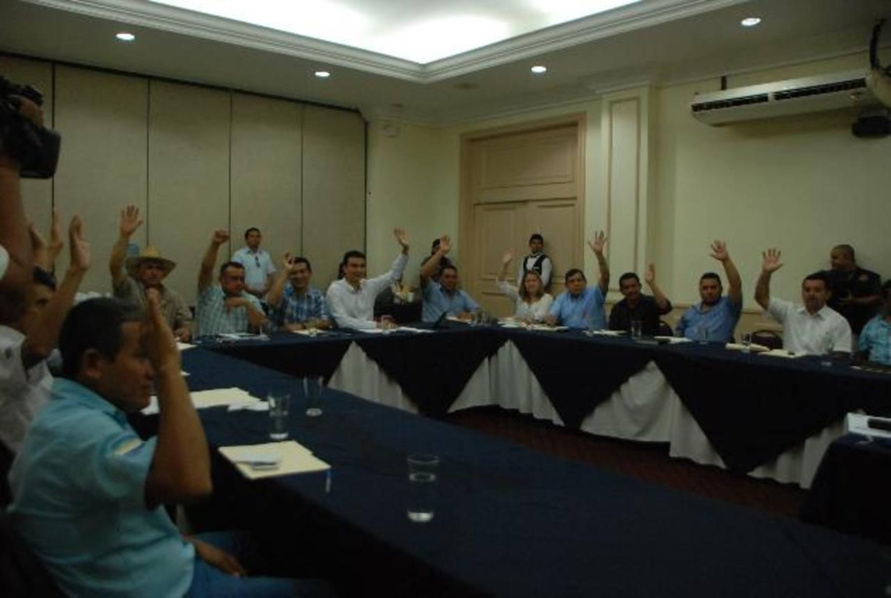 Los alcaldes eligieron a la nueva directiva del CDA a mano alzada. Foto EDH /Lucinda Quintanilla