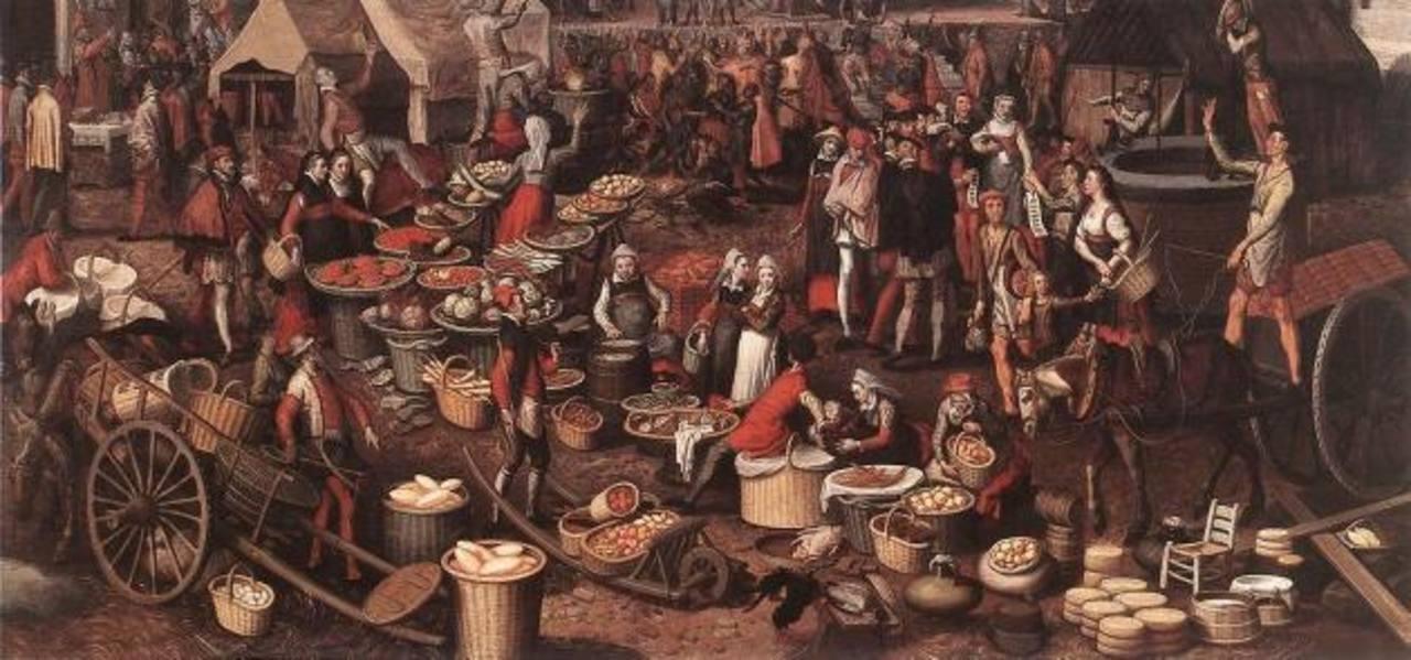 Una pintura que representa un mercado medieval.