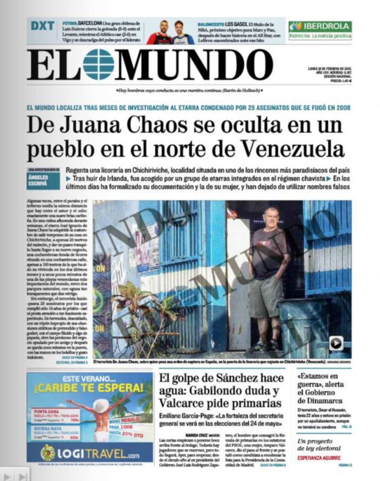 Portada del diario El Mundo, de España, que informa que el terrorista está en Venezuela. foto edh / internet