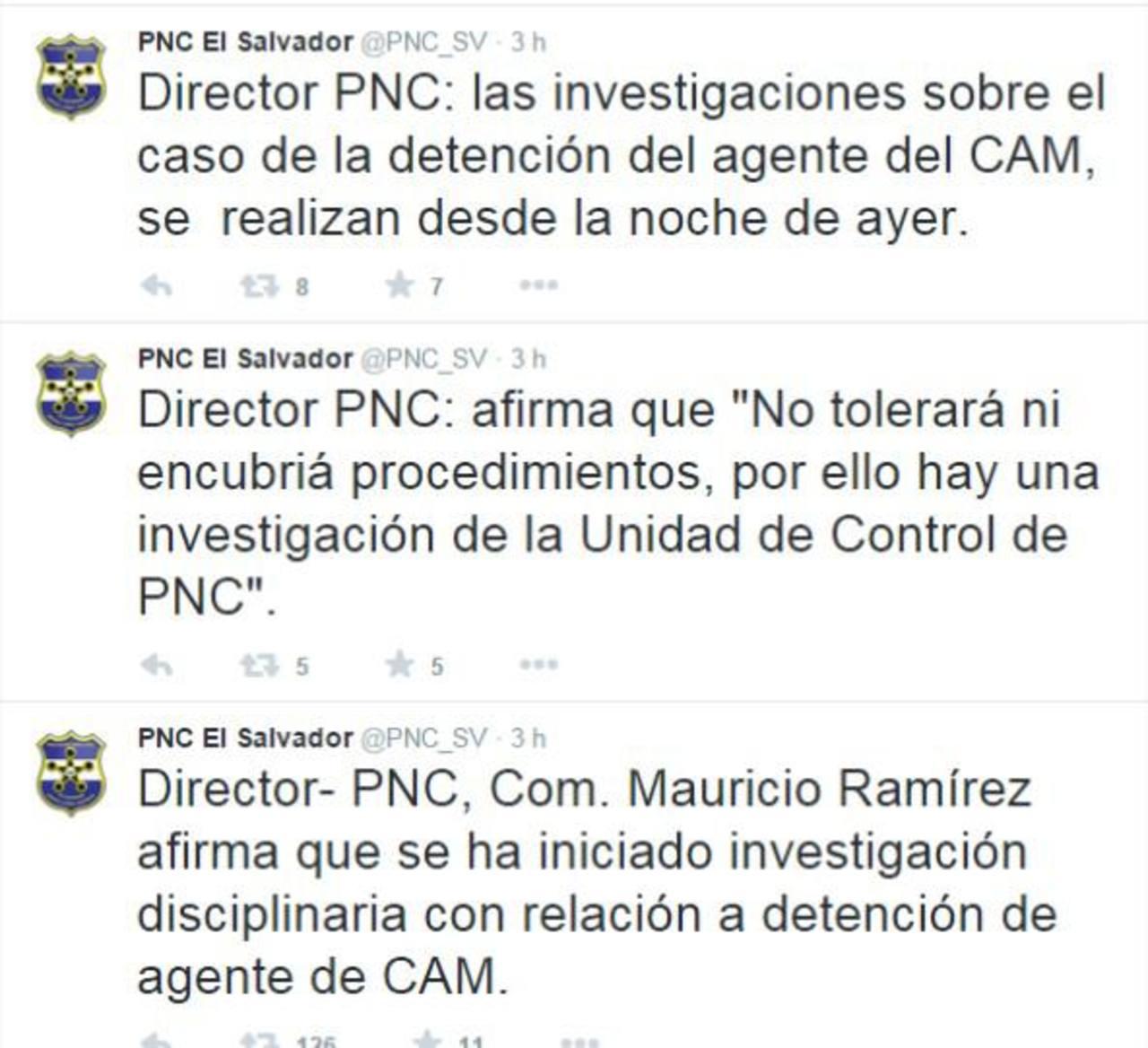 La PNC en su cuenta de Twitter informaba sobre la investigación ordenada por el director contra los agentes. Foto EDH