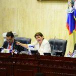 """Jackeline Rivera, diputada del FMLN, criticó a la Sala de lo Constitucional de haber emitido una """"sentencia"""" con la medida cautelar de suspender la emisión de bonos. foto edh / OMAR CARBONERO"""