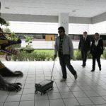 Un invidente hace pruebas con Amepi, el asistente móvil creado en México. Foto EDH