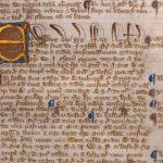 Manuscrito de la Magna Carta (1215) que representa los comienzos de las posibilidades de seguridad judicial, hábeas corpus y el debido proceso.